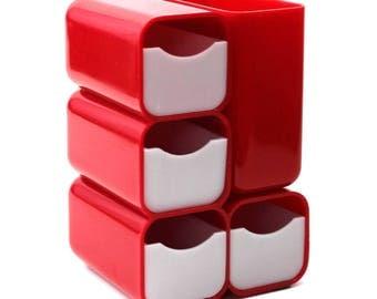 Vintage 1970's HOF Plastic Desk Caddy 4 Drawer Organizer Red and White #7412
