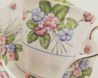 Vintage Tea Cup and Saucer /ROYAL ALBERT Bone China Pink  Vintage Tea Party / Collectable teacup/Pink amd blue flowers
