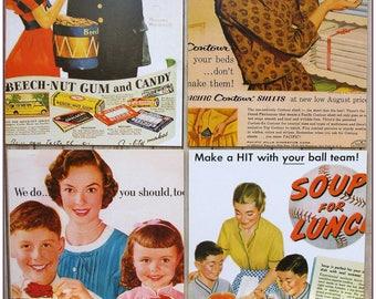 Postcard advertising style retro vintage women food kitchen pinup x 1