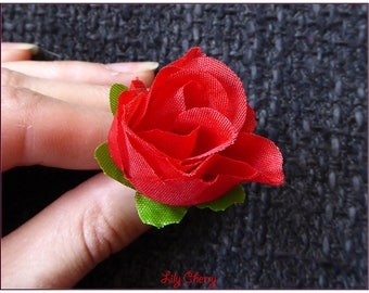 Flower red Rosebud artificial 3cm approx x 1