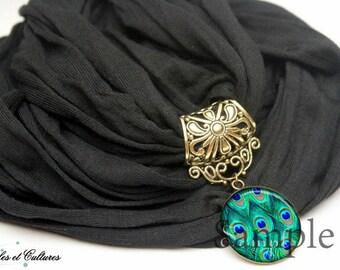 Original retro jewel woollen scarf black Peacock feather beads green blue black