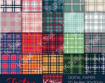 Tartan 20 digital paper sheets to download