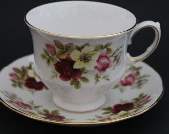 "Queen Anne Bone China Teacup and Saucer Set ""Pattern Number 8501"""