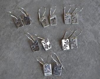 sterling silver dangle wire earrings