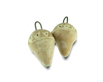 RESERVED FOR CHRISTEL - Terracotta Patterns Earrings Charms Handmade Ceramic Beads