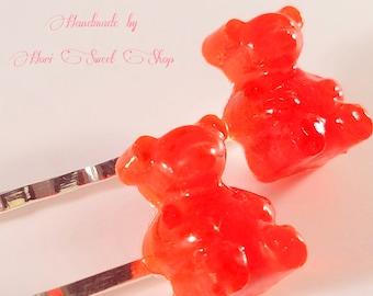 Bright Red Gummy Bear Hair Pins, Kawaii Resin Candy Bobby Pins, Fake Food Accessories, Sweets Deco, Sweet Lolita, Hime Gyaru, Harajuku Kei