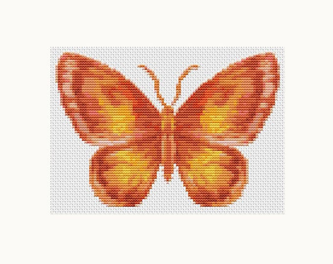 Mini Cross Stitch Pattern PDF, Embroidery Chart, Art Cross Stitch, Butterfly Series: The Flame (TAS127)