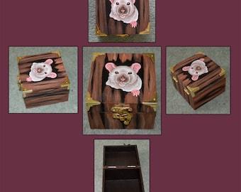 Siamese Rat Wooden Trinket/Memory/Jewellery Box