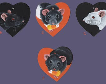 Rat Heart Shaped Wooden Painted Decorations - Hand Painted - Marten, Hooded, Albino and Berkshire Rats