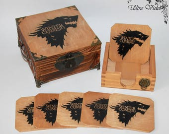 Exclusive tea box, tea,  tea bag,  box, wood,Game of Thrones,Stark, Winter is coming