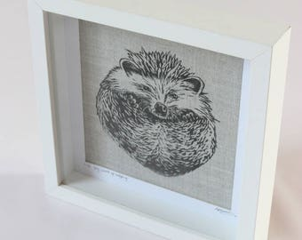 grey balled up hedgehog limited edition linocut print on linen British countryside wildlife