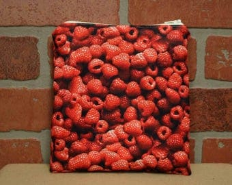 One Sandwich Bag, Reusable Lunch Bags, Waste-Free Lunch, Machine Washable, Raspberries, Sandwich Sacks, item #SS101