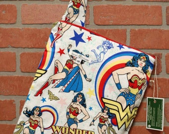 Cloth Diaper Wetbag, Wonder Woman, Flannel, Diaper Pail Liner, Diaper Bag, Day Care Size, Holds 5 Diapers, Size Medium with Handle item #M33