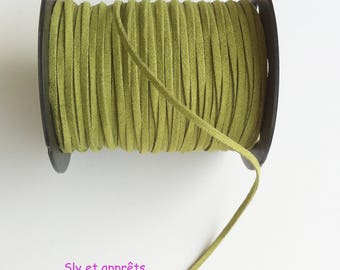5 meters of olive green suede 1 4x3mm