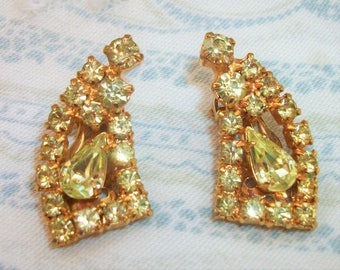 Vintage Yellow Rhinestone Clip On Earrings
