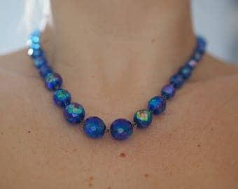 Azure blue faceted crystal necklace midcentury aurora borealis barrel clasp vintage 50s 60s