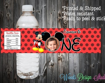 Mickey Mouse // Birthday Picture  // Custom Water Bottle Labels // Bottle Wraps // Water Resistant // Personalized // Printed & Shipped