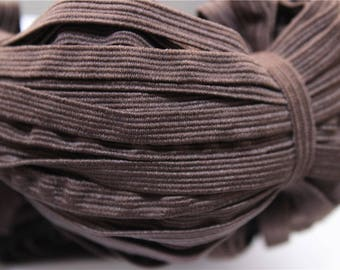 elastic Ribbon 5 meters flat brown color