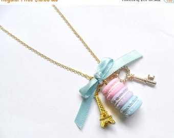 ON SALE Pastel Macaron Trio Eiffel Tower Necklace, Gold Plated, Cute And Kawaii :D