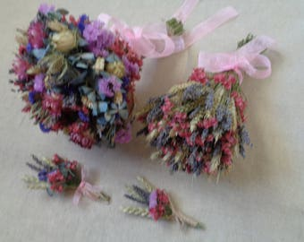 Wedding country bouquets set pink , blue wedding bouquets rustic wedding dried flowers bouquets and buttonholes outdoor wedding