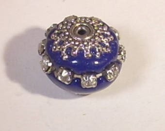Navy Blue Indonesian pearls rhinestone silver plated 16mm x 1