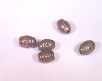 10 pearls 8mm bronze metal barrels