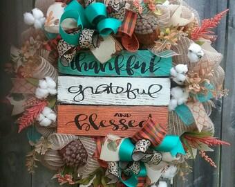 Fall wreath, Thanksgiving wreath, Fall mesh wreath, Fall wreaths, Fall Decor, Fall door hanger, Fall cotton wreath, harvest wreath, Fall