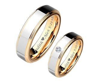 Engraved Ring, Custom Rings, Silver With Gold Accent Tungsten Couple's Ring Custom Engraved, Promise Ring, Personalized Rings, Engraved Ring