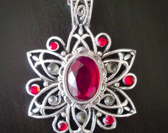 Silver necklace pendant style red stones fairy