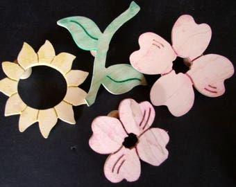 4 Piece Floral Fabric Stamp Set