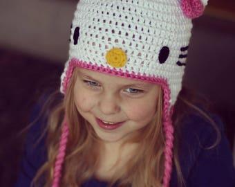 Hello kitty, winter, crochet hello kitty hat
