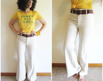 Vintage 70s NOS H.I.S. for Her 30x31 Light Beige Mid Rise Boho Super Bell Bottoms Linen Pants