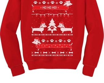 Cute Dachshund Snow Ho Ho Ho Ugly Christmas Toddler/Kids Sweatshirt