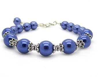 Dark Blue Pearl Jewellery, Navy Bridesmaid Bracelet, Bridesmaid Gifts, Bridal Party Jewellery, Navy Wedding,