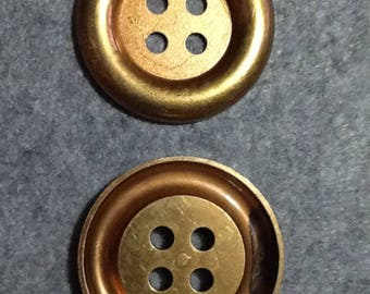 2 LARGE BUTTONS GOLDEN 7 CM PLASTIC AND 4 HOLES