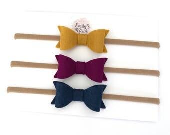 Baby headband. Bow headband. Stretch baby headbands. Baby bows. Set of 3 small bows - 100% wool felt hair bows on stretch headbands.