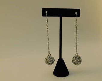 Silver Drop Crystal Ball Earrings