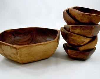 Vintage Hexagon-Shaped Handcarved Wooden Bowl Set