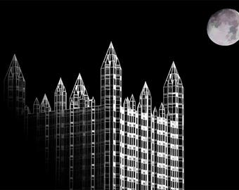 PPG Building Stylized Photo, black and white stylized photograph, black and white, fine photography prints, Spire (Noir)