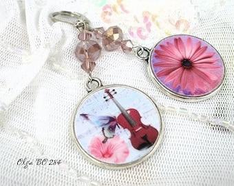 Earrings vintage style pink music * Olga BO 284 *.