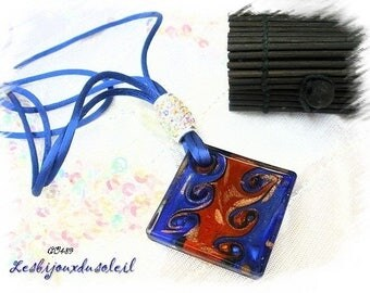 Blue and orange glass necklace CO489 murano style