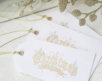 Christmas tags gold foil set of 6