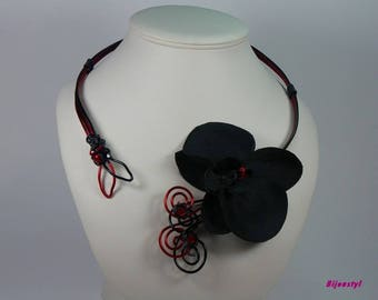 Set necklace & fancy ORKIDELA with its black Orchid earrings
