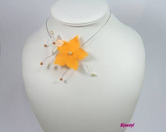 Finery FLORALIE orange and white necklace and matching earrings