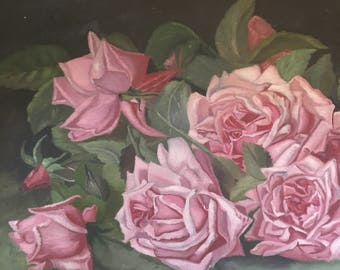 Antique oil painting Roses pink