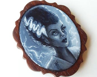 Bride of Frankenstein -  Miniature Acrylic Painting by Amy E Owers
