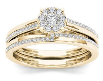 10Kt Yellow Gold 0.33 Ct Diamond Engagement Set Ring