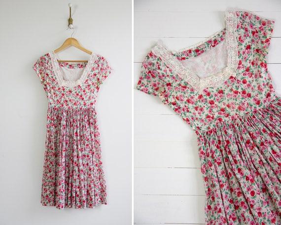vintage 1930s floral dress | 30s 40s dress xs | 1930s pink dress | 30s feedsack dress | 1940s cotton dress