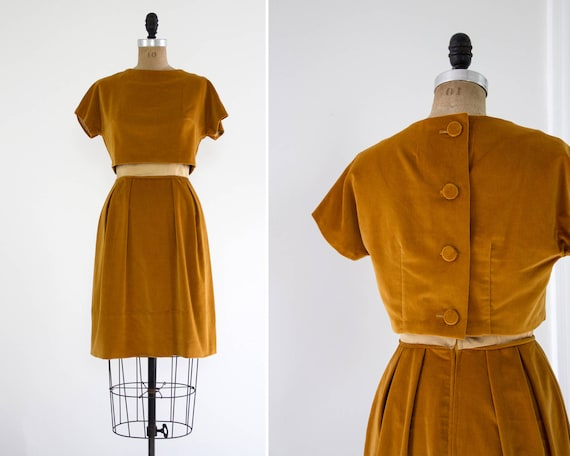 vintage 1960s mustard velvet dress set | mod 60s yellow dress | 1960s dress small