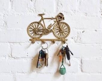Bicycle brass key hook holder home decor hipster wall hanger mountain bike boho vintage